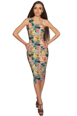 Prima Donna Layla Grey Floral Elegant Party Dress - Women - Pineapple Clothing