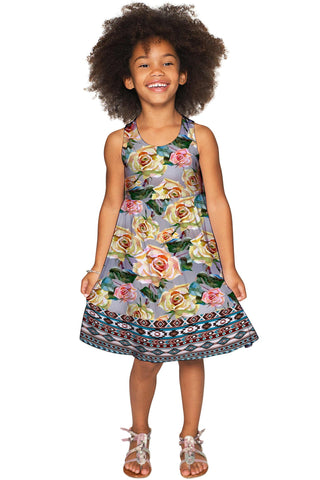 Prima Donna Sanibel Fit & Flare Grey Floral Dress - Girls - Pineapple Clothing