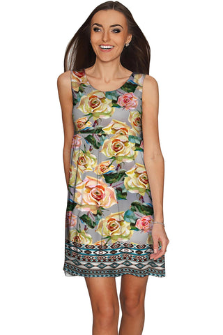 Prima Donna Sanibel Grey Rose Print Empire Dress - Women - Pineapple Clothing