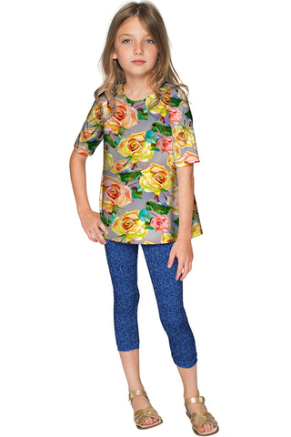 Prima Donna Sophia Cute Grey Floral Print Fancy Top - Girls - Pineapple Clothing