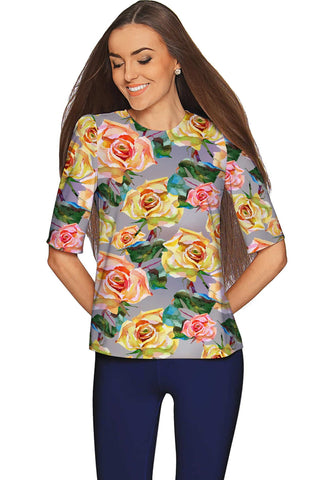 Prima Donna Sophia Grey Floral Print Fashion Top - Women - Pineapple Clothing