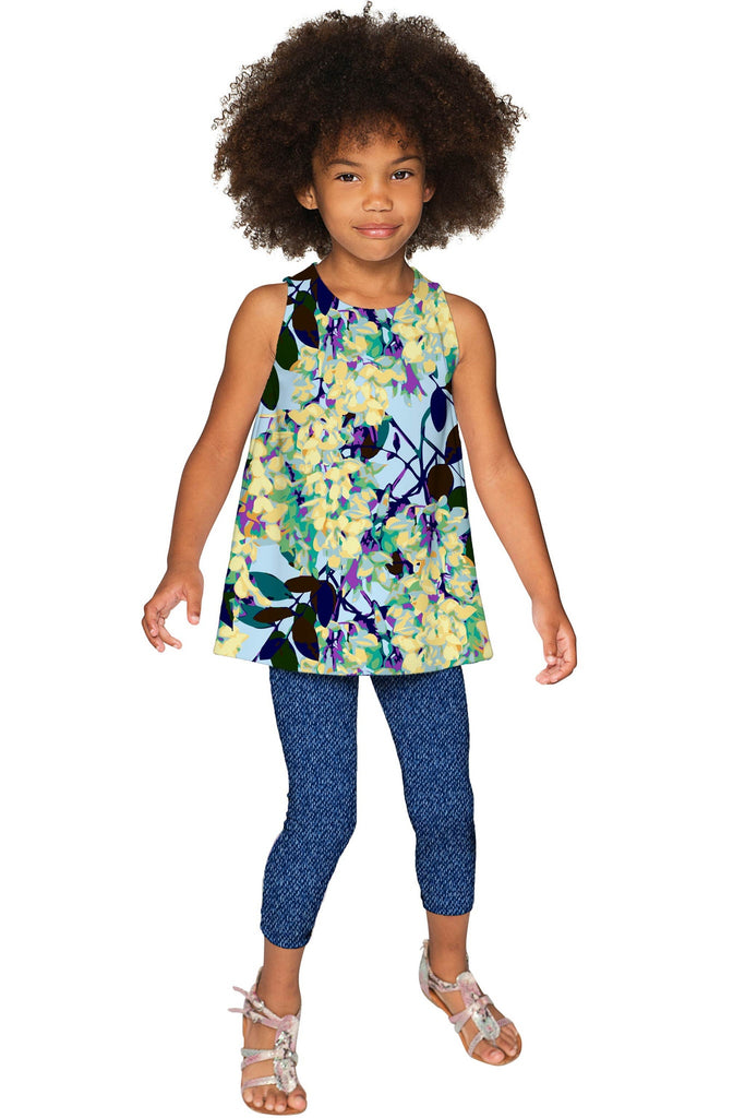 Pure Tenderness Emily Blue Printed Cute Dressy Top - Girls - Pineapple Clothing