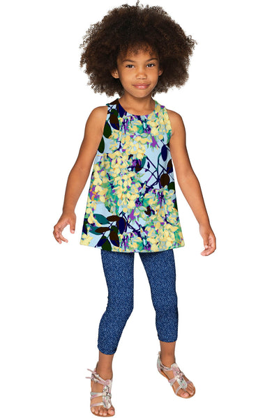 Pure Tenderness Emily Blue Printed Cute Dressy Top - Girls