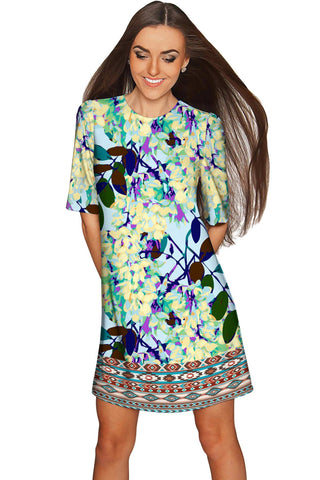 Pure Tenderness Grace Blue Printed Shift Dress - Women - Pineapple Clothing