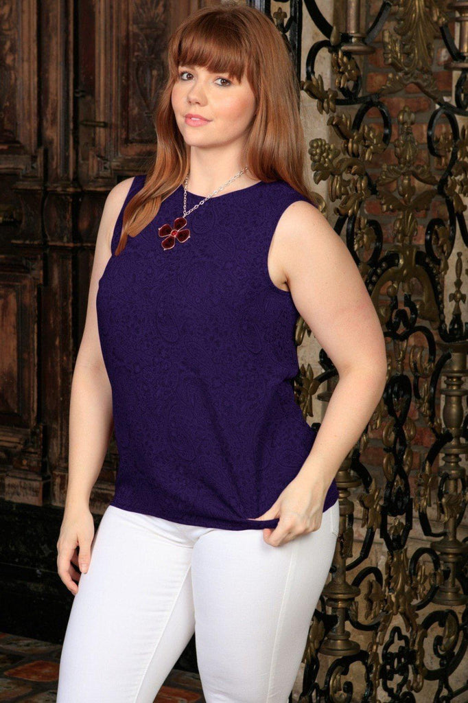 Purple Floral Sleeveless Dressy Cocktail Sexy Curvy Top Plus Size - Pineapple Clothing