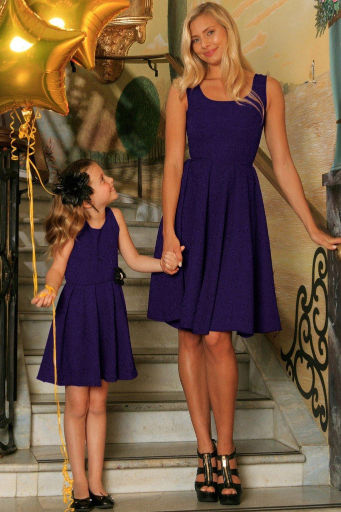 Purple Floral Sleeveless Skater Fit Flare Party Mother Daughter Dress - Pineapple Clothing