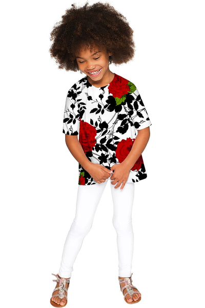 Queen Power Sophia Floral Print White Knit Dressy Top - Girls - Pineapple Clothing