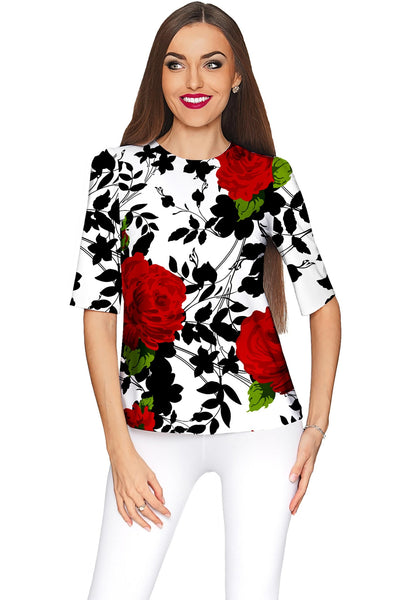 Queen Power Sophia White Floral Print Dressy Top - Women