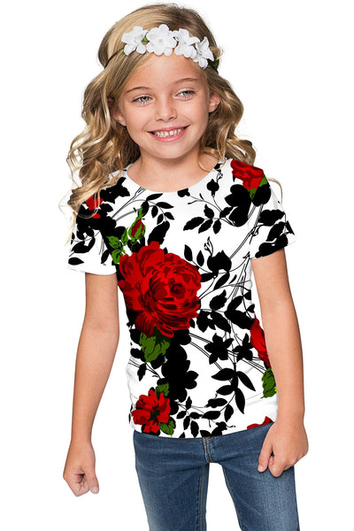 Queen Power Zoe White Floral Print Cute Designer Tee - Girls