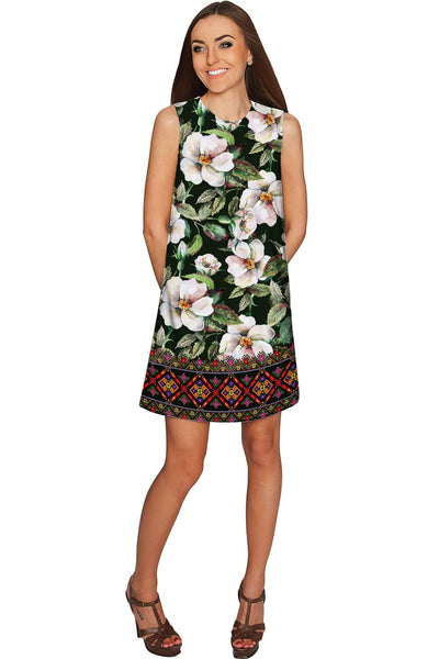 Queen of Flowers Adele Green Printed Shift Dress - Women - Pineapple Clothing