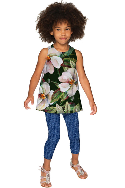 Queen of Flowers Emily Green Designer Sleeveless Top - Girls