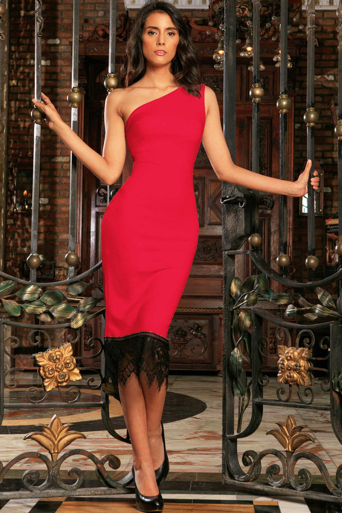 Cherry Red One-Shoulder Bodycon Midi Dress with Lace Trim - Women - Pineapple Clothing