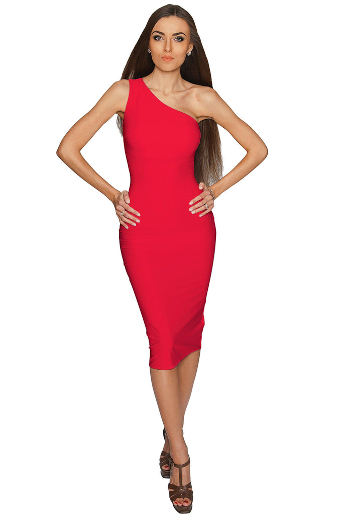 b22cb911aac4b Cherry Red One-Shoulder Bodycon Midi Party Dress - Women - Pineapple  Clothing