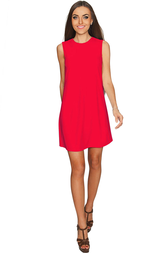 c4606f42b164 Cherry Red Sleeveless A-Line Trapeze Cocktail Shift Dress - Women -  Pineapple Clothing