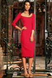 Cherry Red Stretchy Sleeved Bodycon Office Midi Dress - Women - Pineapple Clothing