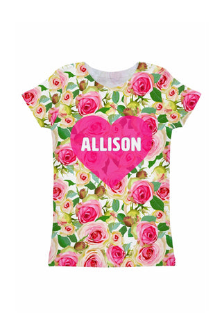 Rosarium Customized NAME Zoe Pink Heart Floral Tee - Girls - Pineapple Clothing