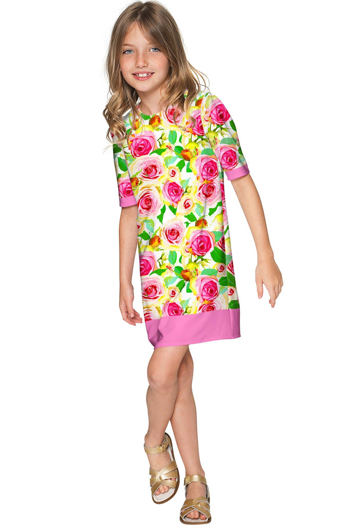 Rosarium Grace Pretty Summer Printed Shift Dress - Girls - Pineapple Clothing