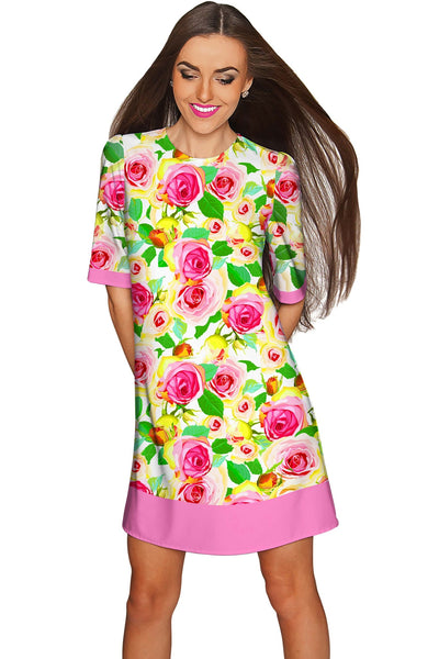 Rosarium Grace Printed Summer Shift Dress - Women