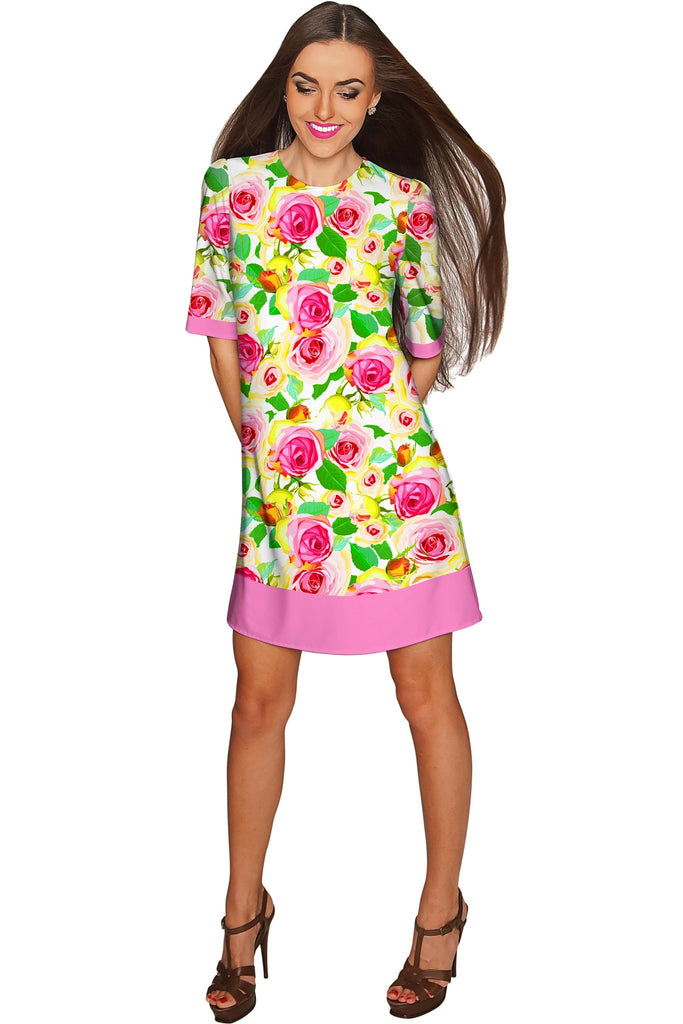 Rosarium Grace Printed Summer Shift Dress - Women - Pineapple Clothing
