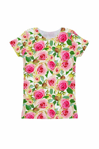 Rosarium Zoe Pink & Green Floral Print Cute T-Shirt - Girls - Pineapple Clothing