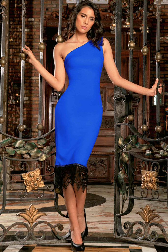 22abb4925ba Royal Blue Stretchy One-Shoulder Bodycon Party Dress - Women – Pineapple  Clothing