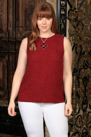 Ruby Red Sleeveless Dressy Trendy Classy Sexy Curvy Top Plus Size - Pineapple Clothing