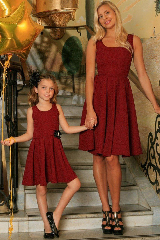 439a698acc5e4 Ruby Red Floral Sleeveless Skater Fit and Flare Mother Daughter Dress