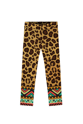 Safari Lucy Brown Cute Leopard Print Leggings - Girls