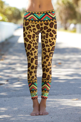 Safari Lucy Brown Leopard Print Leggings Yoga Pants - Women