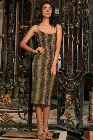 Sage Green Animal Print Sleeveless Bodycon Evening Midi Dress - Women - Pineapple Clothing
