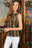 Sage Green Animal Print Sleeveless Casual Trendy Dressy Top - Women