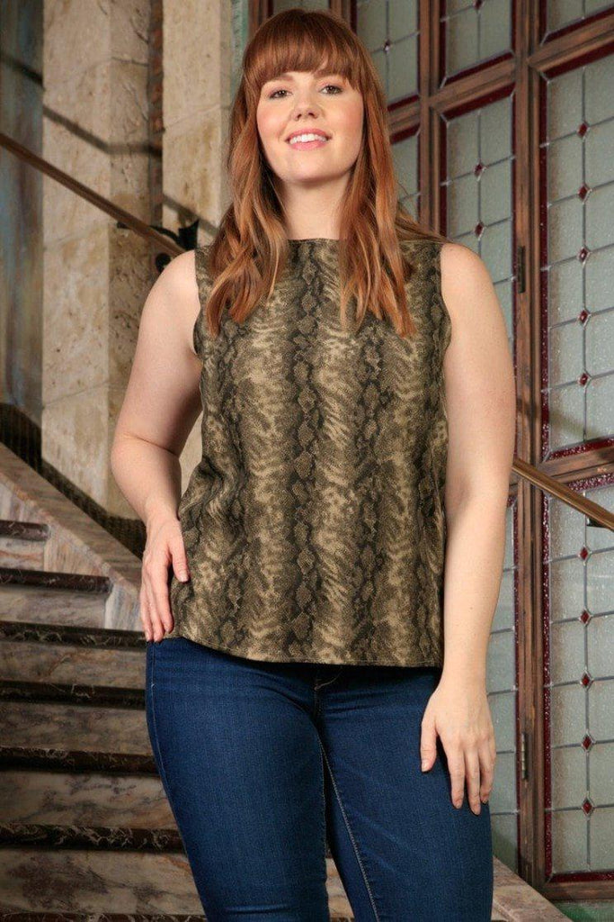 Sage Green Animal Print Sleeveless Dressy Chic Sexy Top - Women Plus Size