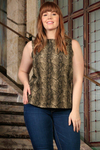 Sage Green Animal Print Sleeveless Dressy Sexy Curvy Top Plus Size - Pineapple Clothing