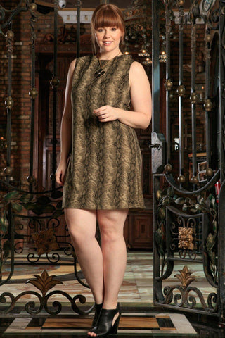 Sage Green Animal Print Sleeveless Party Shift Curvy Dress Plus Size - Pineapple Clothing