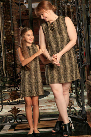 Sage Green Animal Print Sleeveless Mommy and Me Dresses Plus Size - Pineapple Clothing