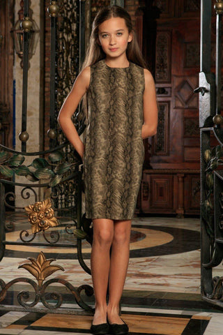 Sage Green Animal Print Sleeveless Trendy Casual Shift Dress - Girls - Pineapple Clothing