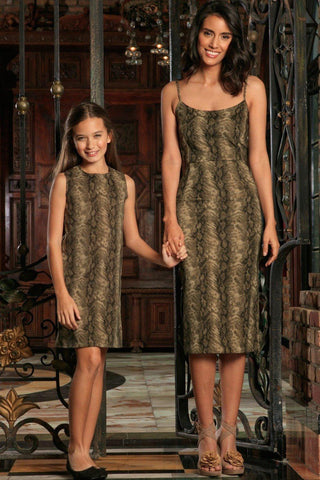 Sage Green Animal Print Unique Trendy Designer Mother Daughter Dresses - Pineapple Clothing