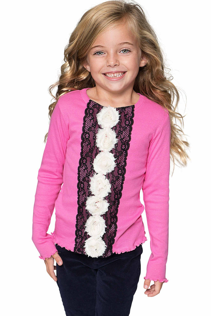 Chic Hot Pink Cute Dressy Top with Flower Trim - Girls - Pineapple Clothing