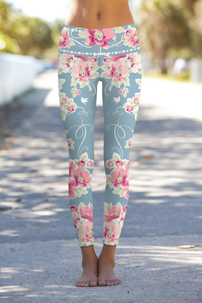 119925a366 Serenity Lucy Light Grey Floral Print Leggings Yoga Pants - Women