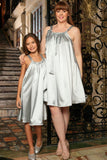 Silver Grey Cute Fancy Halter Swing Mommy and Me Dress Plus Size