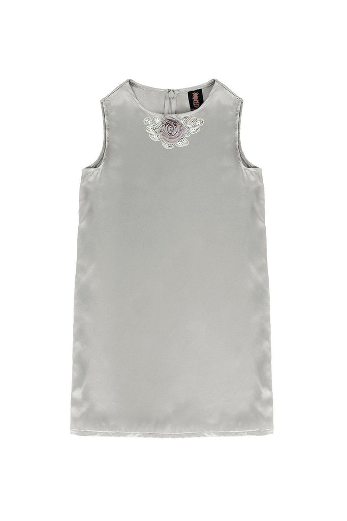Silver Grey Charmeuse Sleeveless Cute Summer Party Shift Dress - Girls - Pineapple Clothing