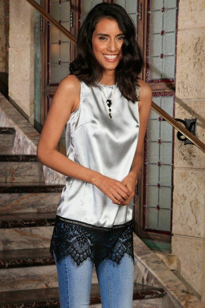 Silver Grey Charmeuse Sleeveless Dressy Evening Top With Lace - Women