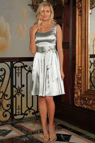 Silver Grey Charmeuse Sleeveless Prom Skater Dress With Belt - Women