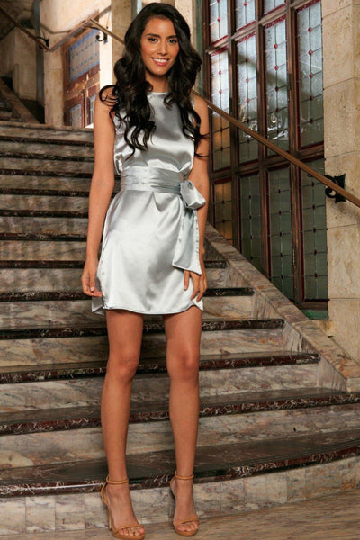 Silver Grey Sleeveless Trendy Cocktail Party Shift Mini