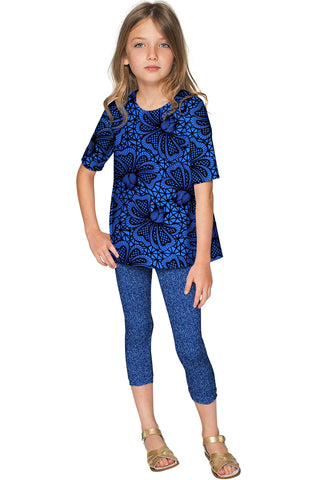 Blue Soulmate Sophia Lace Print Sleeved Party Top - Girls - Pineapple Clothing
