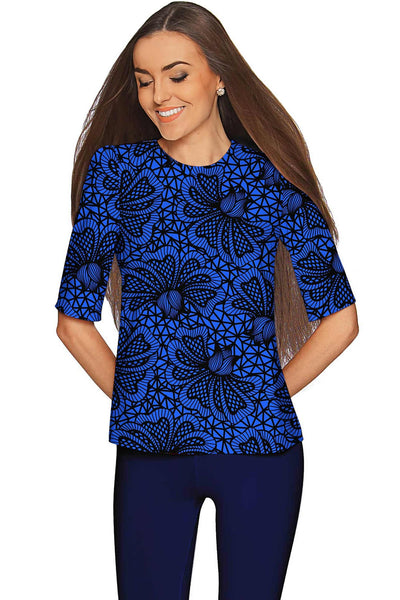 Blue Soulmate Sophia Lace Print Evening Top - Women
