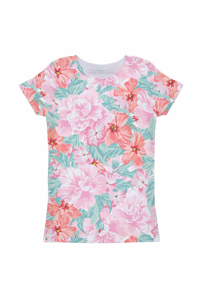 Spring Garden Zoe Pink Floral Print Cute Designer Tee - Girls - Pineapple Clothing