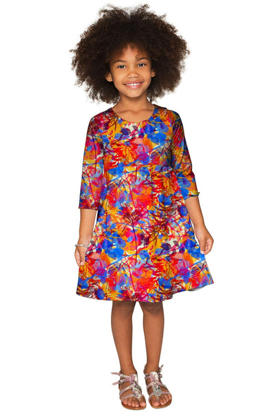 Summer Dizziness Gloria Empire Waist Printed Dress - Girls