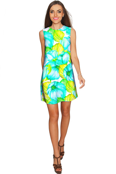 Sunny Day Adele Green Floral Shift Mini Sundress - Women