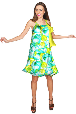 Sunny Day Melody Green Chiffon Swing Dress - Women - Pineapple Clothing